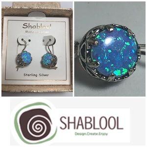 Shablool 925 Sterling Silver Fire Opal Earrings